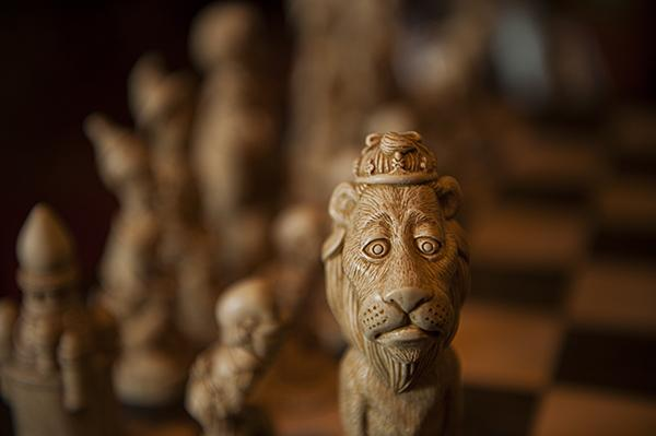 A 'Wizard of Oz' theme chess set is one of the many items on display.