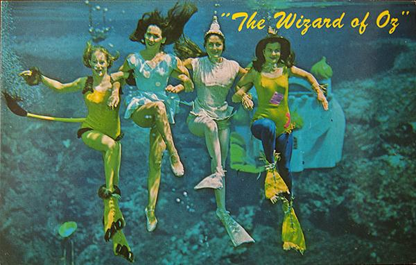 A postcard celebrates a 1967 Underwater Mermaid Show in Weeki Wachee, Florida.
