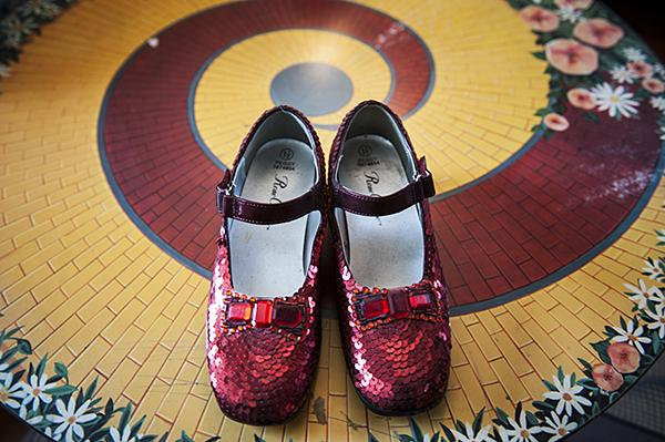 Follow the yellow brick road in ruby red slippers.