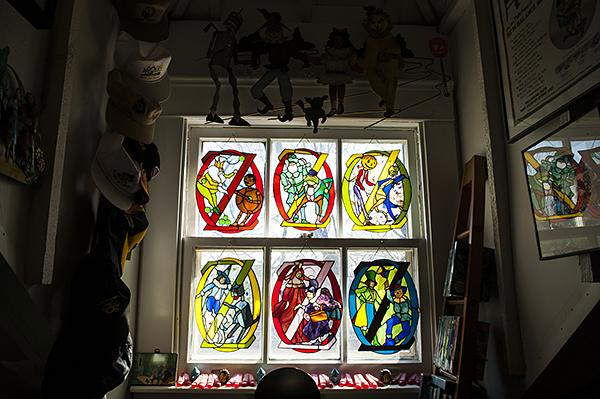 Stained glass created by Century Studios decorate the windows.
