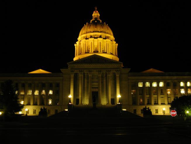 The Missouri Capitol at night.