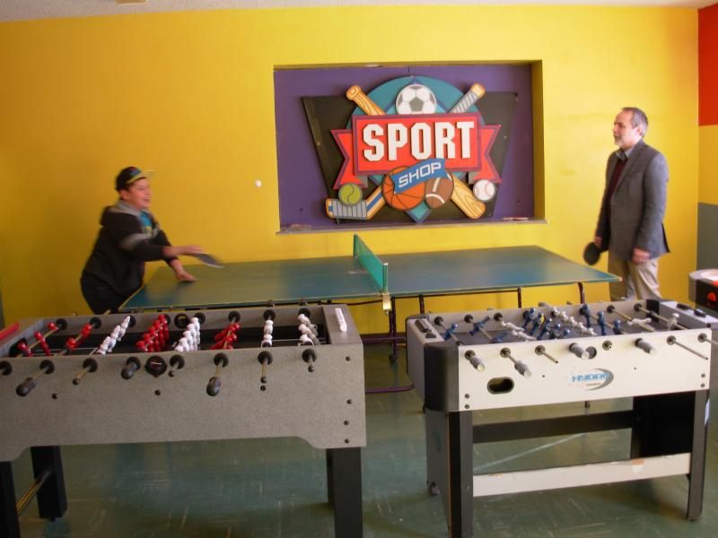 Ping-pong match between Rev. Behrens and Eric
