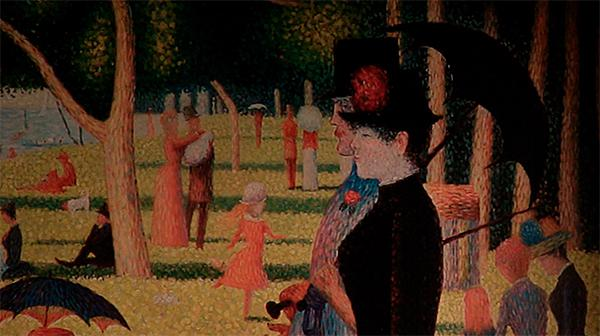 "A detail from ""A Sunday Afternoon on the Island of La Grande Jatte"" by Georges Seurat."