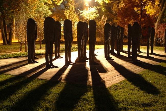 Magdalena Abakanowicz's Standing Figures (Thirty Figures), 1994-1998.
