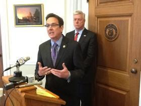 Mo. Sen. Kurt Schaefer (R, Columbia) holds a press conference in his office on Apr. 16, 2013, where he states that ATF took part in the request for Missouri's CCW list. To Schaefer's right is Lt. Gov. Peter Kinder (R).