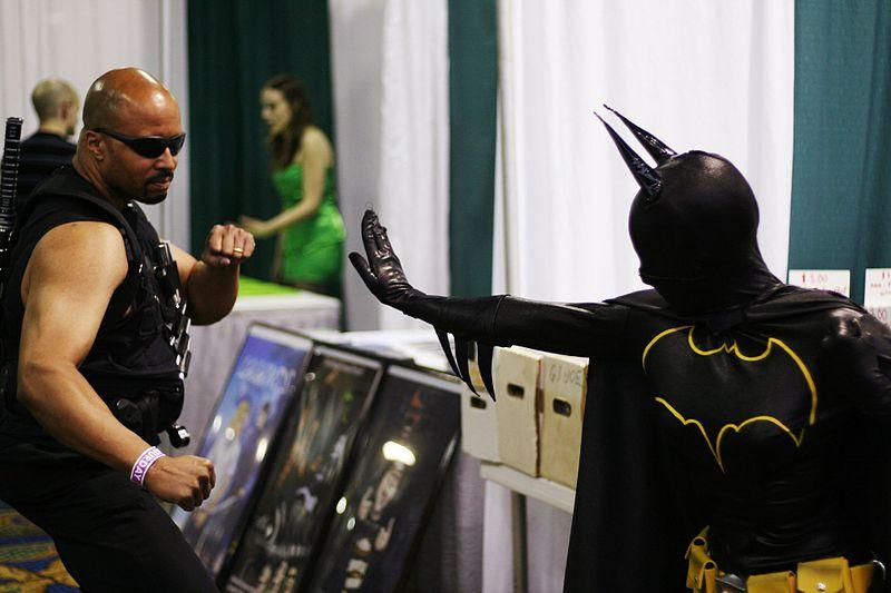 Batman takes on Blade at a Comicon event.