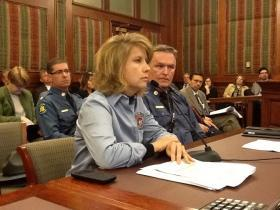(l-r) Mo. Dept. of Public Safety Deputy Dir. Andrea Spillars and Mo. State Hwy. Patrol Col. Ron Replogle answers questions from Mo. Senate budget writers.