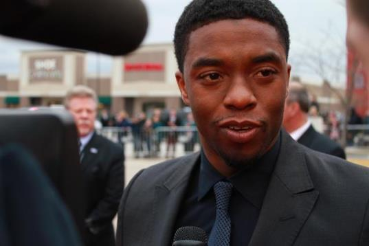 Actor Chadwick Boseman, who plays Jackie Robinson.