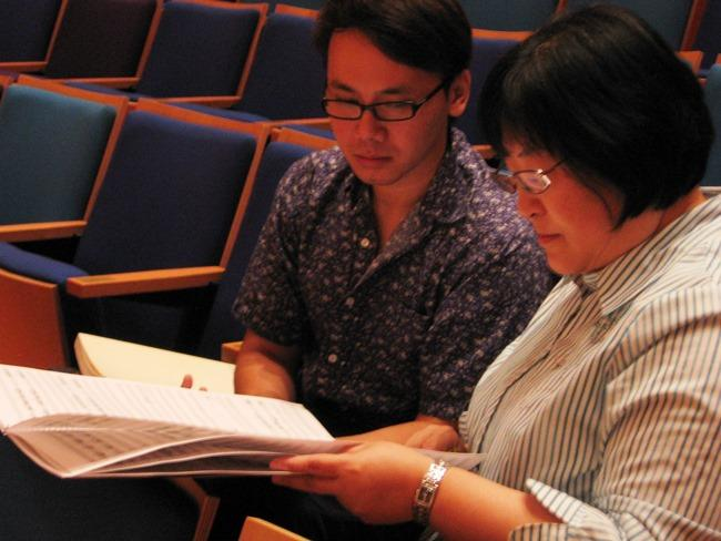Composer Narong Prangcharoen with his teacher, Chen Yi.