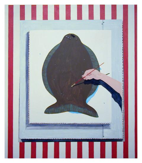 Mike Erickson, A Painting of A Painting of the painting of A Painting of A Flounder, acrylic on canvas, 2012.