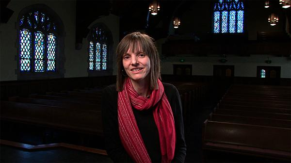Composer and teacher Ingrid Stölzel in her new home at Graham Tyler Memorial Chapel.