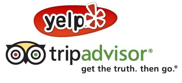 Yelp and TripAdvisor logos