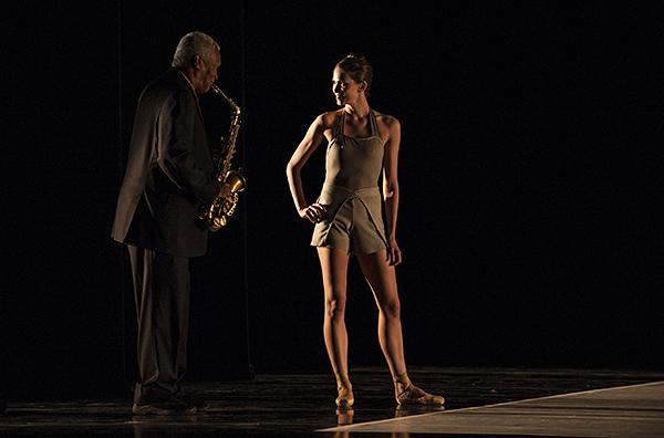 Saxophonist Bobby Watson and Angelina Sansone share a moment on stage.
