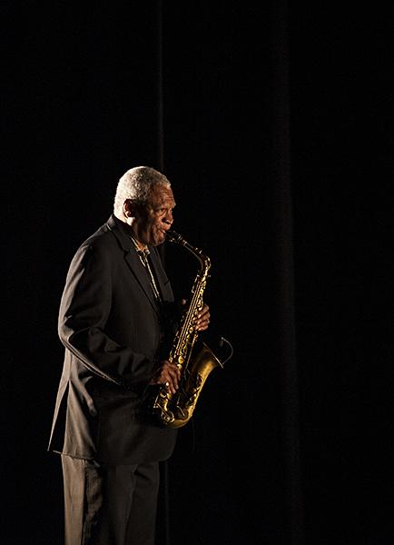 Bobby Watson layers his saxophone against a previously recorded track.