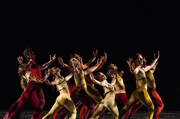 Clad in cranberry and amber, the company performs 'Together.'