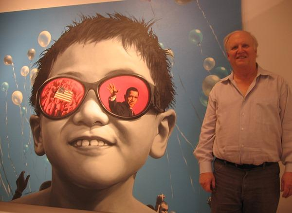 Byron Cohen, in front of one of Deng Wushu's works, at the Byron C. Cohen Gallery, 2009.