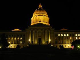 The Missouri Capitol at night.