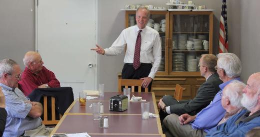 U.S. Senator Moran speaking to the Baldwin City Rotary Club at Baker University.