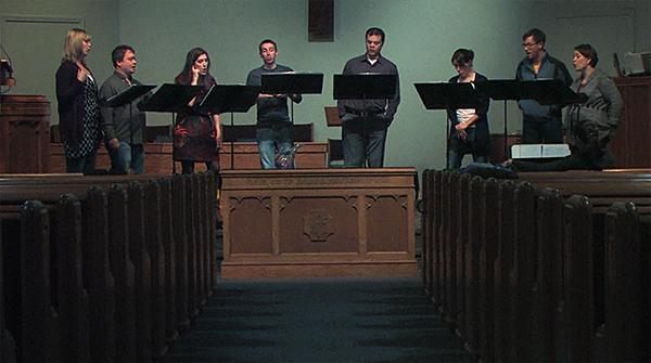"Ensemble members rehearse in preparation for ""Holidays with Octarium,"" Parkville Presbyterian Church in December 2012."