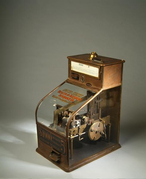 Samuel Coffman's insurance vending machine. According to the museum, you could purchase a 24 hour, $1000 accident insurance policy.