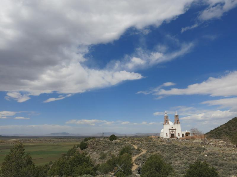 Spanish influence is everywhere in this remote section of southern Colorado. This structure, the Stations of the Cross Shrine, overlooks the Culebra mountains.