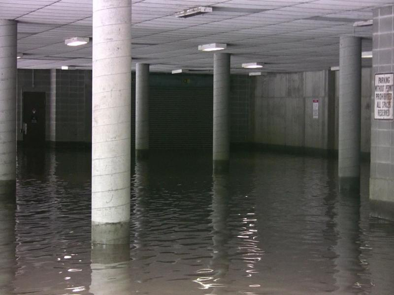 The parking garage at the Encompass Health building at I-435 and Wornall Road flooded.