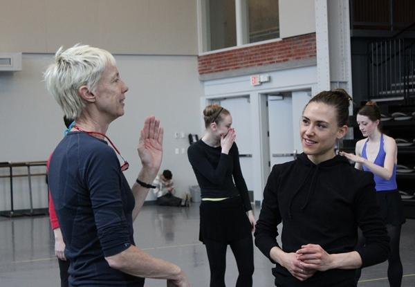 Choreographer Karole Armitage talks to company dancer Tempe Ostergren during a rehearsal at the Bolender Center.