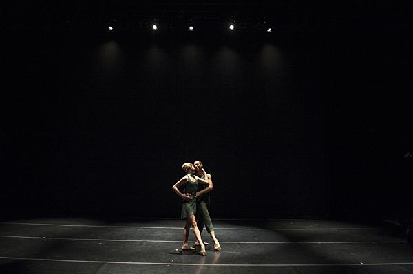 Molly Wagner  and Michael Davis share a moment onstage.