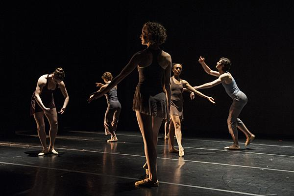 Juliana Bicki (center) runs through the final variation during a final  rehearsal.