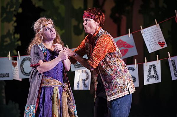 Cinnamon Schultz, as Celia, and Carla Noack, as Rosalind, discover Orlando's verses of love in the forest. Now disguised as the boy Ganymede, Rosalind shudders at the thought of meeting him.