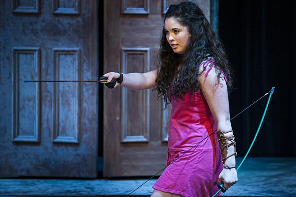 Daria LeGrand, as Cupid, threatens to wage war on the side of her mother, Aphrodite.