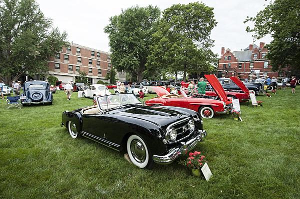 Vintage cars line the lawn of the Kansas City Art Institute campus.
