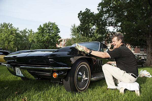 Keeping a black clean is a continuous process according to David Sindelar who brought his 1965 Chevrolet Corvette Coupe.