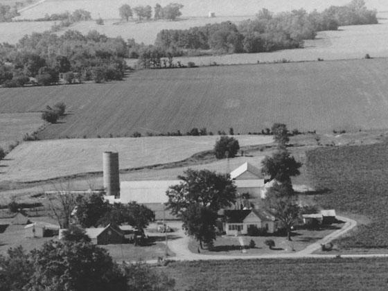 The Moundville, Mo., farm where Johnson's father grew up, as seen in 1981. The family sold the farm in the 1990s.
