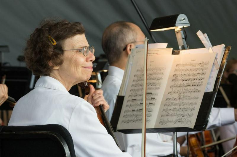 First violinist Susan Goldenberg looks out over the audience before the concert begins.