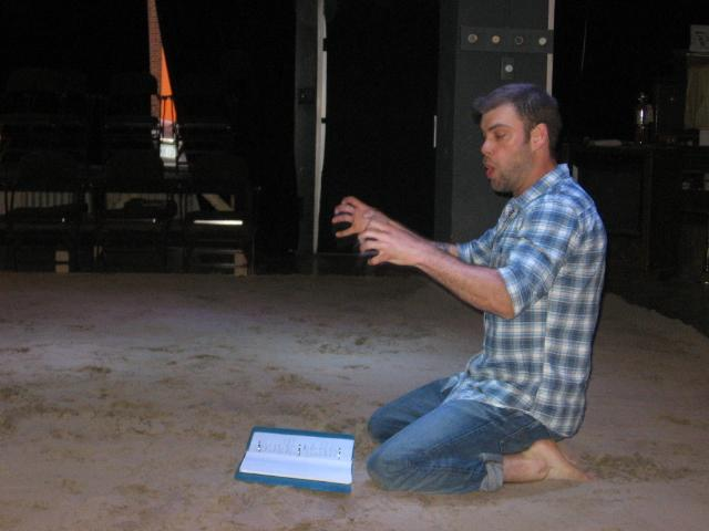 An emphatic Kyle Hatley at a rehearsal of his play 'The Death of Cupid.'