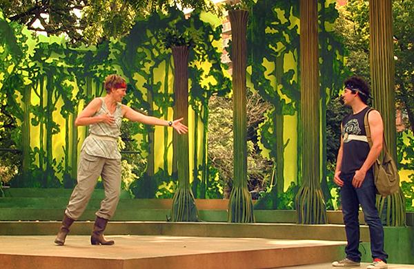 Rosalind, played by Carla Noack, and Orlando, played by Todd Carlton Lanker, in 'As You Like It'.