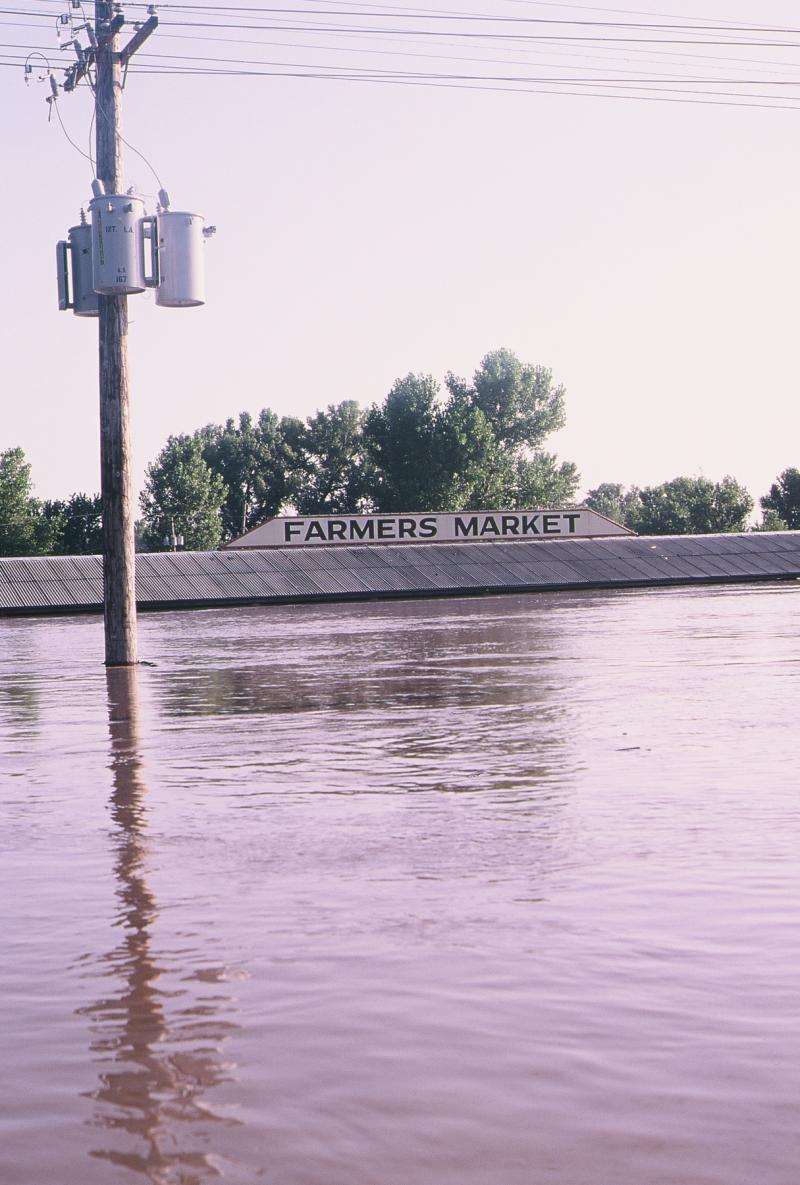The farmer's market building in Parkville, Mo. during the floods.