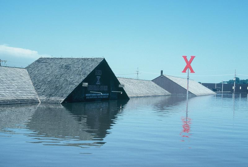 The Red X in Riverside, Mo. during the 1993 floods.
