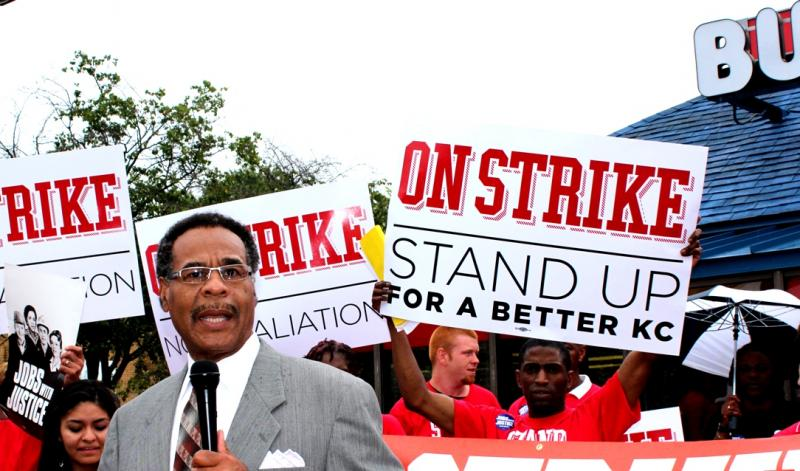 Congressman Emanuel Cleaver with fast-food strike supporters.