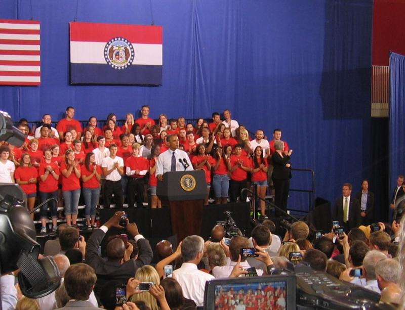 President Obama spoke at the Student Recreation and Wellness Center on Univeristy of Central Missouri campus