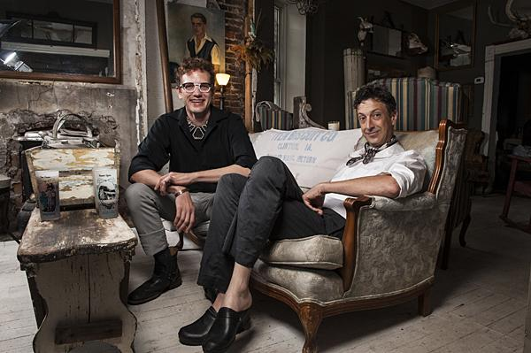 Costume and clothing designer Jon Fulton Adams and actor Ron Megee relax in their eclectic home in the Historic Northeast.