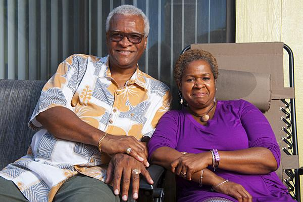 Saxophonist Bobby Watson and Pamela Baskin-Watson spend time together on the back porch of their Shawnee, Kan. home.
