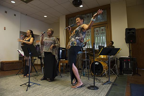 Nedra Dixon, (from left) Baskin-Watkins, and Angela Hagenbach perform as Book of Gaia.