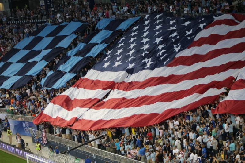 The opening ceremony at the MLS All-Star game Wednesday included audience participation with signs and flags.