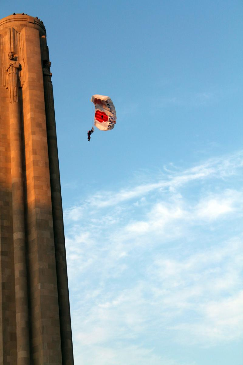 Maj. Alastair Mcartney did a base jump off of the Liberty Memorial Aug. 19.