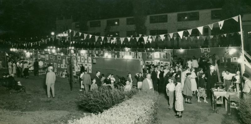 A 1936 image gives a historical look at the Plaza Art Fair.