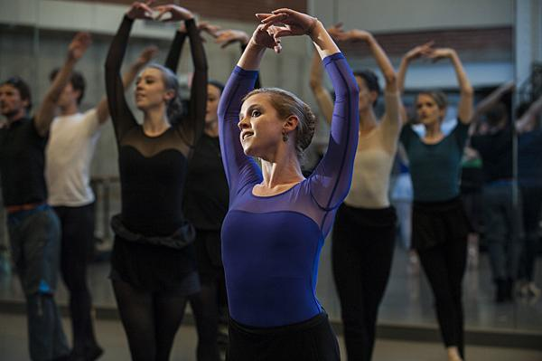 Opening the fall performances to the First Friday crowd, Laura (Wolfe) Hunt and Kansas City Ballet company dancers perform during an open rehearsal the Todd Bolender Center for Dance and Creativity.