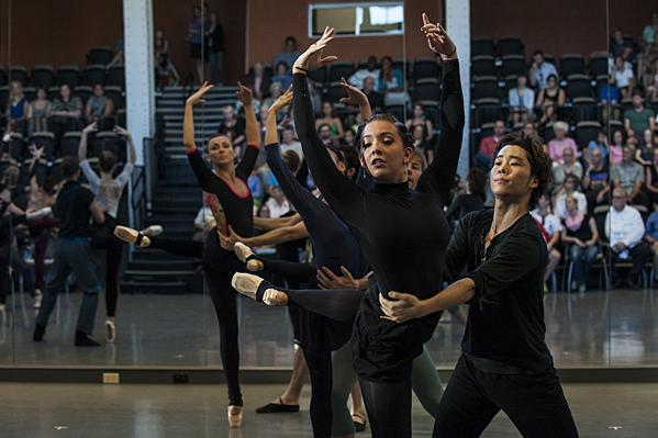 Arielle Espie (from left) and Yoshiya Sakurai rehearse a new ballet by Artistic Director Devon Carney.
