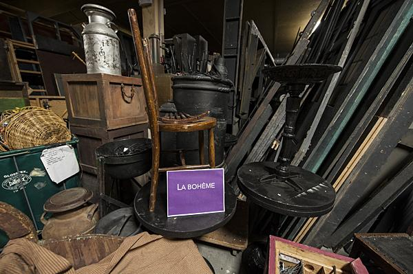 Props from the opera 'La Boheme' await their next performance.